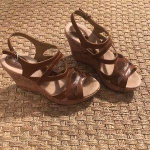 b.o.c by Born Women's cork wedge sandals. EUC.